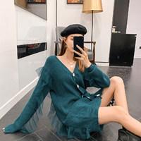 七格格连衣裙女2019冬季新款韩版宽松显瘦v领中长款长袖慵懒裙子 *2件