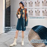 七格格冬季连衣裙女修身气质2019新款显瘦韩版拼接圆领中长款裙子 *2件