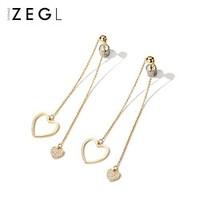 ZEGL 925银针 长款心形耳坠