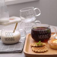 创意大肚杯耐热玻璃杯子带把牛奶杯早餐杯麦片杯