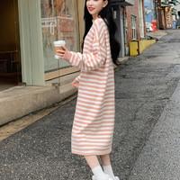 预售韩都衣舍2019秋新款女韩版粉色过膝毛衣裙长款连衣裙IG8483僥