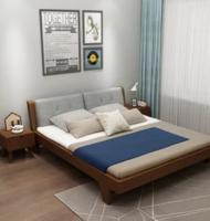 睿趣 北欧实木双人床组合 (床+椰棕床垫+送软靠背) 1.5*2m