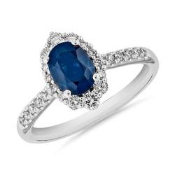 Blue Nile 蓝宝石与钻石密钉戒指14k 白金