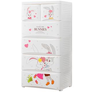 也雅塑料收纳柜子衣柜G-51025儿童储物柜抽屉收纳箱卡通兔270L五层