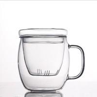 北斗正明圆润玻璃杯高硼硅三件杯办公室茶杯水杯花茶杯带盖 *7件