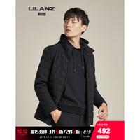 Lilanz/利郎时尚男士羽绒服厚款男保暖羽绒外套印花G9DSL33401 黑 175 *3件