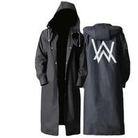 米良品 时尚成人黑色潮长款雨衣