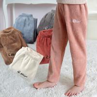 旗雨 儿童珊瑚绒家居裤