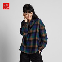 双12预告 UNIQLO 优衣库 421714 女装 法兰绒格子半开领上衣