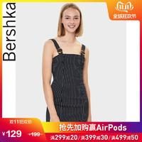 Bershka女士 2019夏季新款黑色条纹短款背带连衣裙 05581168800