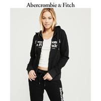 Abercrombie&Fitch女装卫衣 Logo 款全拉链刺绣帽衫 247247-1 AF