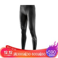 思金斯(SKINS)A400梯度压缩裤 跑步速干长裤 女款 黑色光泽胶印款 ZB99330010015 S