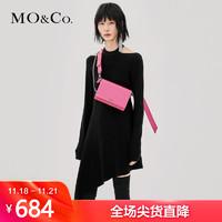 MOCO秋季新品性感露肩纯色羊毛连衣裙MA183DRS305 摩安珂