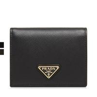 Prada/普拉达经典款牛皮黑色十字纹三角铭牌女士短款翻盖钱包钱夹