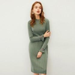 韩版修身纯色半高领长袖高腰连衣裙