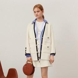 韩版小香风宽松长袖单排扣撞色外套