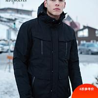 七匹狼运动羽绒服男冬装新款中长款加厚多袋外套带帽防寒保暖上衣