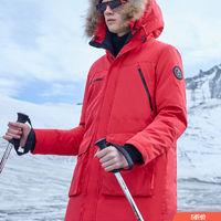 美特斯邦威毛领羽绒服男中长款冬季新款潮流帅气加厚鸭绒男士外套 *4件