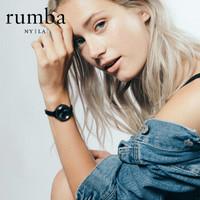RumbaTime手表女 欧美时尚女士手表 进口女表石英钢带情侣手表女款 黑色 *2件