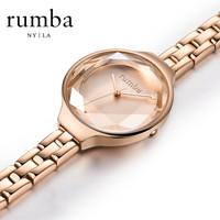RumbaTime手表女 欧美时尚女士手表 进口女表石英钢带情侣手表女款 玫瑰金 *2件