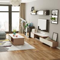 富安娜家具北欧轻奢电视柜茶几组合现代简约客厅可伸缩电视柜储物