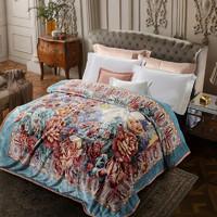 富安娜冬季双层加厚保暖法兰冬季绒毯卧室双人垫床办公室午睡毛毯
