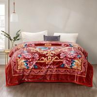 富安娜冬季加厚保暖婚庆法兰绒毛毯被子卧室垫床床单红色结婚毯子
