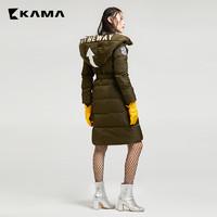 KAMA卡玛中长款字母印花连帽上衣服外套羽绒服7417774 *2件
