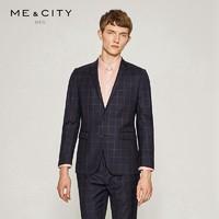 MECITY商场同款男装新品简洁双色线格纯羊毛合体西装