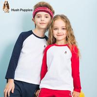 Hush Puppies 暇步士童装春季新款男女同款圆领衫撞色拼接长袖T恤儿童圆领衫