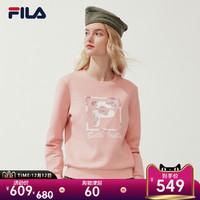 FILA 斐乐官方 女子卫衣 2020春季新款休闲印花圆领套头衫女上衣