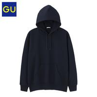 GU 极优 321603 男装连帽套头卫衣  02浅灰色 165/84A/S