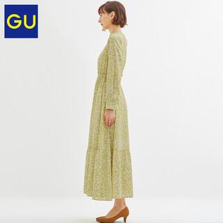 GU极优 女装 印花立领连衣裙 324084