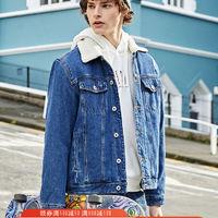森马加绒牛仔外套男夹克冬季时尚加厚男装韩版学生牛仔衣仿羊羔毛 *4件