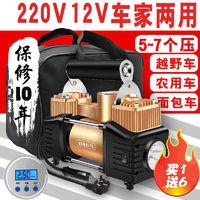 车载充气泵12V220V车家两用双缸高压打气泵汽车电动车农用打气筒