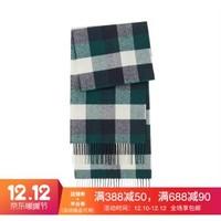 无印良品 MUJI 百分百羊毛 编织围巾 绿色X图案 *2件