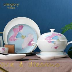 华光陶瓷 骨瓷餐具套装 家用欧式盘子碗套装 釉中彩 陶瓷碗碟套装礼盒装 朝颜 30头餐具(礼盒装)