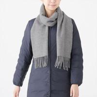 MUJI  无印良品 F9AD611 羊毛 编织围巾 中灰色