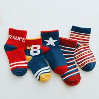 Oissie 奥伊西 1-7岁男女宝宝棉袜五双装四组颜色可选