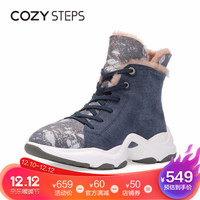 COZY STEPS冬季羊皮毛一体雪地靴女厚底老爹鞋中筒女靴 蓝色 38