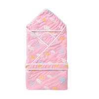 北极绒婴儿包被新生儿纯棉儿童提花6层纱布抱被粉色80*80 *4件