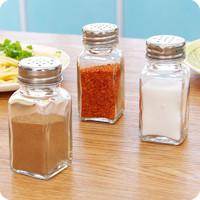3个装玻璃调料瓶烧烤调味瓶罐有孔盖佐料瓶子调料盒