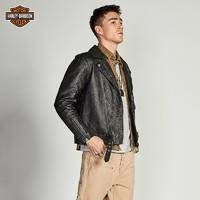 88VIP : Harley-Davidson 哈雷戴维森  男士翻领机车皮衣真皮