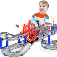 逗乖比 电动小火车套装 城市轨道汽车玩具