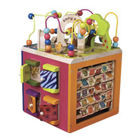 B.Toys比乐动物园木立方百宝箱 多功能串珠绕珠儿童益智宝宝玩具 动物园木立方