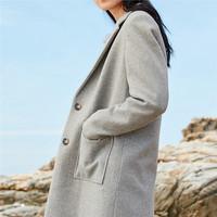 佐丹奴毛呢外套女士中长款新款女装V领翻领开叉羊毛大衣05379745