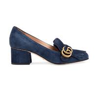 GUCCI 古驰 GG Marmont系列 女士双G绒面革流苏粗跟中跟鞋