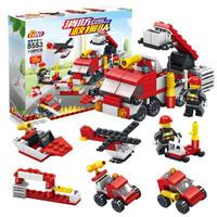 乐乐兄弟 积木玩具城市系列 消防救援车队 7变造型 119颗粒