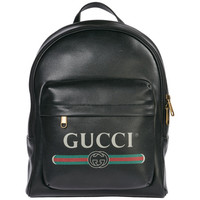 GUCCI Print Leather 双肩包