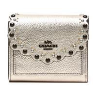 COACH 蔻驰 奢侈品 女士专柜款铂金色皮革铆钉装饰短款钱包钱夹 78109 GMO3Z *2件